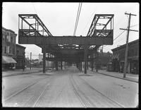 End of elevated subway line construction at 241st Street and White Plains Road, Bronx, May 12, 1915. Photographed for Joseph P. Day.