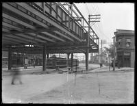 Elevated subway line structure and station at White Plains Road and Baychester Avenue, looking north, Bronx, May 12, 1915. Photographed for Joseph P. Day.