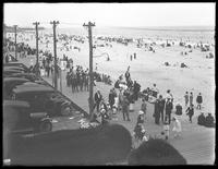 View of the boardwalk and beach  from Curley's Hotel, Belle Harbor, Queens, July 11, 1915. Photographed for Joseph P. Day.