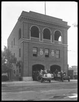 Wide view of the Far Rockaway fire station, Belle Harbor, Queens, July 12, 1915.  Photographed for Joseph P. Day.