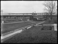Elevated train station at 233rd Street and White Plains Road, Bronx, April 28, 1916. Photographed for Joseph P. Day.