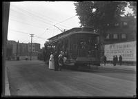 People getting on a streetcar at McClean Avenue and South Broadway, Yonkers, NY, June 7, 1914. Photographed for Joseph P. Day.