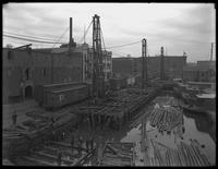 Bulkhead construction, Piers 15 and 17, Brooklyn, October 7, 1919.
