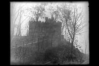 Front entrance of 'Crag Inch Lodge' (meaning 'rocky island'), name given to the residence at Pollepel Island by Bannerman : view from down the hill. New York, undated.