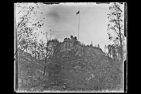 Southwest side of 'Crag Inch Lodge' (meaning 'rocky island'), name given to the residence at Pollepel Island by Bannerman : view from down the hill. New York, undated.