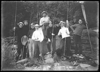 Group portrait of unidentified men on a fishing trip, undated (ca. 1911-1921).