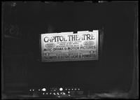 Capitol Theatre billboard lit by electricity at night, New York City, undated (ca. April 1917).