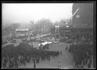 View of Columbus Circle, with Dare Devil Kid Schreyer's apparatus ready for a jump, New York City, November 26 or 27, 1918.