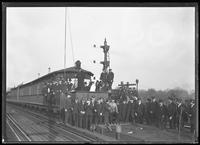 Flag-raising at the IRT 180th Street station, Bronx, December 3, 1918. Photographed for Interborough Rapid Transit.