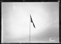 American flag flying at the IRT 180th Street station, Bronx, undated [ca. December 1918]. Photographed for Interborough Rapid Transit.