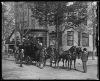 Enclosed, horse-drawn carriage in unidentified neighborhood, undated [ca. 1914].