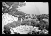 Aerial view of an unidentified camp, undated (ca. 1937). Probably the 1937 Boy Scouts' National Jamboree at the base of the Washington Monument, Washington D.C.