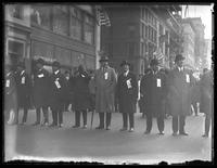 J.P. Morgan, Jr. and other unidentified officials marching in a Liberty Day parade, New York City, October 25, 1917.