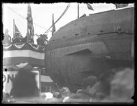 Mrs. Guy Emerson re-christening U-boat UC-5 as 'U-Buy-A-Bond,' Central Park, New York City, October 25, 1917.