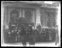 Crowd gathered at a stage in front of the New York Pubic Library ('Liberty Bond Theater'), New York City, October 19, 1918.