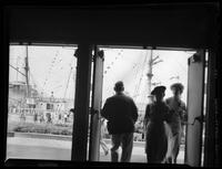 Admiral Byrd's ship 'City of New York' moored on Lake Erie, seen through an unidentified doorway possibly the Hall of Progress, Great Lakes Exposition, Cleveland, Ohio, undated (ca. 1936-1937).
