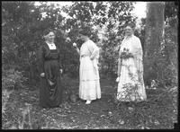 Belle Hassler Welty and two other unidentified women, likely part of the Hassler family, in an unidentified wood, undated [ca. February 1919].