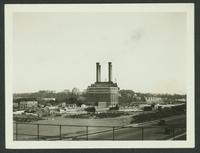 Bronx: Hall of Fame for Great Americans, seen on elevation, West 180th Street between Sedgewick Avenue and Aqueduct Avenue, with the United Electric Light & Power Company powerhouse in the foreground, 1923.