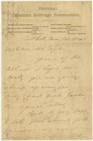 Susan B. Anthony letter, Fort Leavenworth, to Harriet Taylor Upton, October 30, 1888, recto.