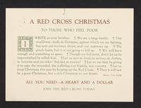 A Red Cross Christmas. To those who feel poor … All you need--a heart and a dollar. Join the Red Cross today.
