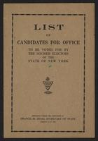 List of candidates for office to be voted for and list of offices to be filled by the soldier electors of the state of New York … : general election, page [1] of cover.