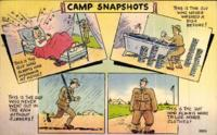 """Camp Snapshots"" postcard with Benjamin Segan note to Judith Berman July 17, 1943."