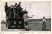 """Signal Corps Laying Wire"" postcard with Benjamin Segan note to Judith Berman August 13, 1943."