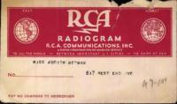 Benjamin Segan radiogram to Judith Berman, February 18, 1944.