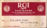 Benjamin Segan radiogram to Judith Berman, April 18, 1944.