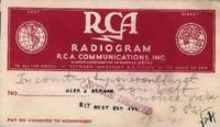 Benjamin Segan radiogram to Judith Berman, July 25, 1944.