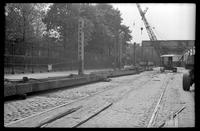 Fifth Avenue El, Brooklyn, at 24th Street, October 2, 1941. View looking south to the demolition at the 25th Street entrance of Green-Wood Cemetery.