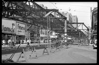 Fulton Street El, Brooklyn, at Albee Square opposite Fulton Place, June 20, 1941.