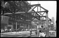 Fulton Street El, Brooklyn, June 20, 1941. Men at work east of Hoyt Street.