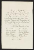 "[Company G, 7th Regiment letter thanking contributors to the New Armory Fair, dated ""New York, December 8th, 1879""]."