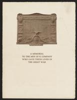A memorial to the men of K Company who gave their lives in the Great War, page [1], with bronze memorial design.