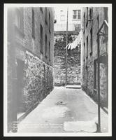 Retaining wall at rear of 654 St. Nicholas Avenue facing West in court[yard] between 157 and 161 Edgecombe Avenue, Manhattan