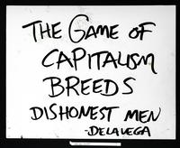 Recto: The game of capitalism breeds dishonest men--De La Vega