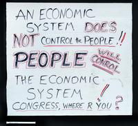 Verso: An economic system does not control the people!! People will conrol [sic] the economic system!! Congress, where r you?