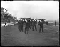 USS Indiana sailors performing a musket drill, Brooklyn Navy Yard, New York City, undated.