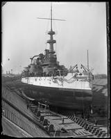 The USS Massachusetts in dry dock, Brooklyn Navy Yard, New York City, undated.