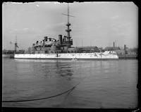 The USS Massachusetts at Cob Dock, Brooklyn Navy Yard, New York City, undated.