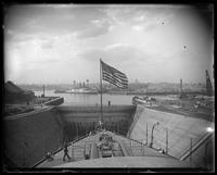 Stern view from the USS Massachusetts in dry dock, Brooklyn Navy Yard, New York City, undated.