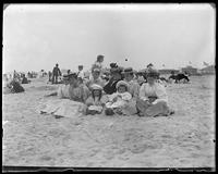 Mrs. Stonebridge, Grace, Willie, and other unidentified women on the beach, Coney Island, Brooklyn, N.Y., undated [c. 1900-1902].