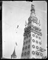 Tightrope walker near the Electric Tower, Luna Park, Coney Island, Brooklyn, N.Y., undated [c. 1903-1905].
