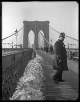 Policeman on the Brooklyn Bridge in winter, New York City, undated [c. 1897-1905].