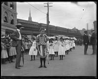 Young girls participating in the parade for the opening of the Willis Avenue Bridge, New York City, undated [1901].