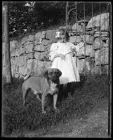 Unidentified little girl with a dog, Garrison, N.Y., 1901.