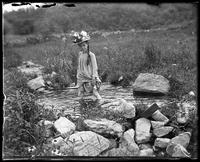Grace in the duck pond, Garrison, N.Y., 1901.