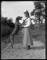 Lulu with a dog [Dave?], Garrison, N.Y., 1904.