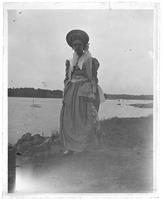 Grace Stonebridge in Colonial costume, Orchard Beach, Bronx, N.Y., 1909.